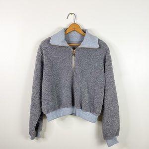 Sherpa gray pullover sweatshirt medium top women's